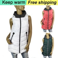 2014 new winter women long cotton jacket warm and 4 color comfortable hooded vest vest Free Shipping Big Size XL XXL 3XL1068