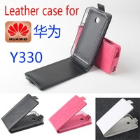 Free shipping   Flip up and down  Leather PU case for HUAWEI  Y330 case