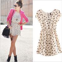 New Fashion 2014 Bargain Casual  Women Spring Summer O-neck sleeveless Animal Bird Print Casual Vintage Mini Dress, Plus Size