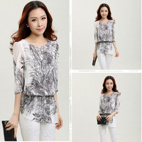 Women Summer Casual Leisure Lady Chiffon Shirts Blouse Printed Shirts Plus Size O-neck Waisted 2014 New Fashion