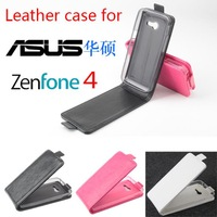 Free shipping   Flip up and down  Leather PU case for Asus  Zenfone 4 case