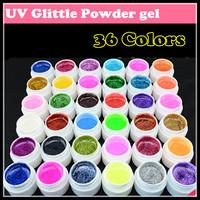 Fashion New 36 Colors Nail art UV Glitter Powder Gel UV GEL Shimmer Colorful Nail Gel 5g/bottle, Free shipping