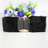 Free shipping women's fur decorative wide belt girdle high quality conny hair cummerbund belt
