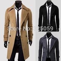 Men's Winter Jacket Causal Long Slim Wool Coat  Double Breasted Long Sleeve Overcoat wool coat men