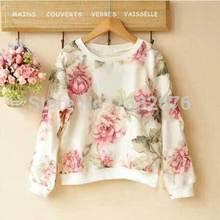 New 2014 Spring & Autumn Kids Clothing Casual Print Chiffon Cutton Flower Sweatshirts Children Clothing Wholesale Kid LHP(China (Mainland))