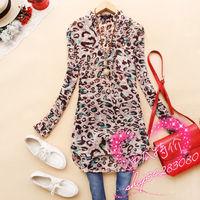 2015 spring autumn fashion leopard print V-neck long-sleeve leopard shirt pleated all-match long design female chiffon shirts