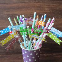 Free shipping multicolour Big Polka Dots design Straw Flags,straws label stickers 108pcs