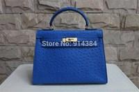 High-quality (1:1) 28CM Ostrich handbag (H-handbags) French style Women's handbags purse 100% Genuine leather Tote Gold hardware