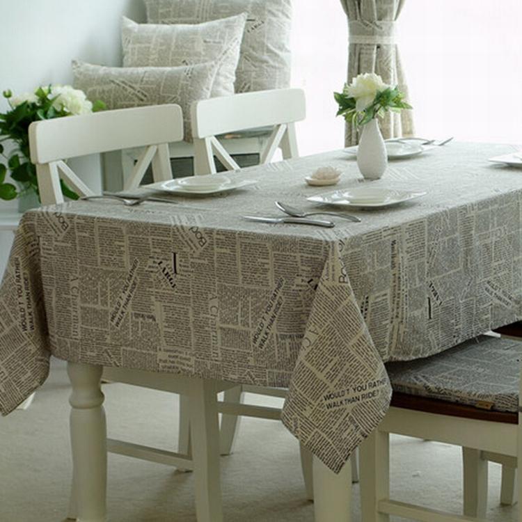 Alphabet Letter Printed cotton linen dining tablecloth fabric table cover skirt Overlay toalha de mesa redonda forro de mesa(China (Mainland))