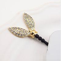 Cheap Cute Golden Alloy Crystal 3.5 mm Rabbit Ear Cell Phone Dust Plug Earphone Jack Plug R-269