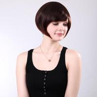 SS002-4T33 18cm Women Synthetic Fiber Side Bangs BOBO Style Short Straight Hair Wig - Chestnut