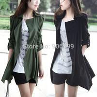 European and American women's 2014 autumn new listing casual windbreaker jacket big yards