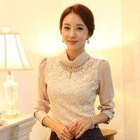 Free Shipping Long Sleeve Shirt New 2014 Spring Korean Style Women's Fashion Elegant Turtleneck Lace Formal Blouses S-XXL D6652