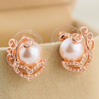 New arrival 2014 elegant pearl seashells earrings stud earring exquisite small flower stud earring