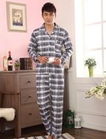 Male Autumn Winter Plaid Long Sleeve Sleepwear Sets Cotton men's Home Clothes Pyjamas sets lounge