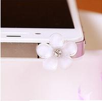 Cheap Korea Hot White Flower 3.5mm Plastic Cell Phone Dust Plug Earphone Jack Plug R-273