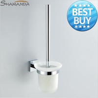 2014 Free Shipping Toilet Brush Holder,solid Construction Base In Chrome Finish + Frosted Glass Cup,bathroom Accessories