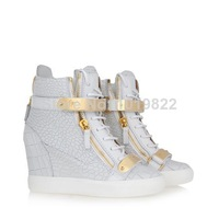 GZ Wedges Sneakers Women High Top Sneakers Leather Shoes Women Metal Side Zips White Crocodile Print Gold Plates Zanotty