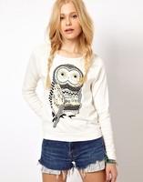 2014 Fashion Autumn Women Owl White Beading Animal Pullover Long Sleeve Tracksuits Casual Cute High Quality Sweatshirt