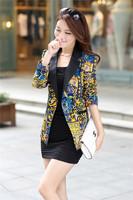4XL Big Size 2014 New Autumn Women Print Slim Single Breasted Leopard Jacket Casual Long Sleeve Jackets women's coats