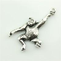 50pcs/lot 32*27mm antique silver tone monkey charm