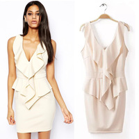 Free shipping !  2014 Girls  Sleeveless V-neck Beige Pink Color Dress ladies fashion dress evening dress