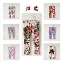 Hot  2014 Italy new brand children floral print pants high quality baby girls leggings,designer kids girl pants leggings, 3-10Y