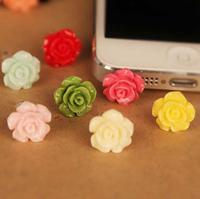 Quality Cheap Fresh Resin Colorful Rose Eco 3.5 mm Cell Phone Dust Plug Earphone Jack Plug R-278