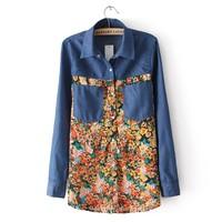 Grils Vintage Floral Pattern Jeans Shirts Women Leisure Denim Blouse 2014 Autumn New 3169304103