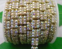 Free shipping 1yard 3 row Champagne + Clear AB glass rhinestone close Golden chain claw trim Applique Wedding dresses