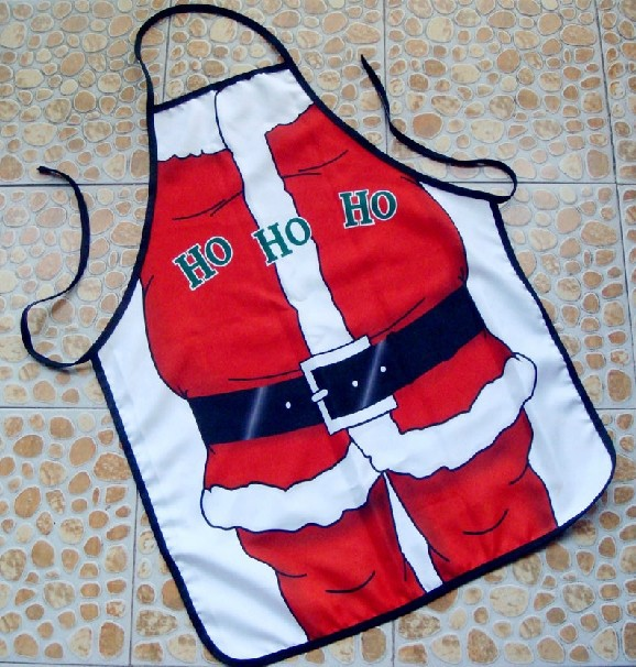 New 2015 Hot Novelty Funny Kitchen Santa Claus Cooking Aprons Party Dress For Gift Drop Shipping(China (Mainland))