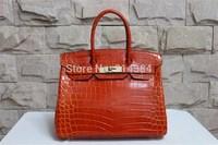 High-quality (1:1) 30CM alligator Shiny bag (H-handbags) French Women's handbags purse 100% Genuine leather Tote Silver hardware
