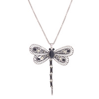 Dragonfly necklace pendant jewelry chandelier silver color long chain stone + FREE GIFT AMAZING EARRING!!!!!