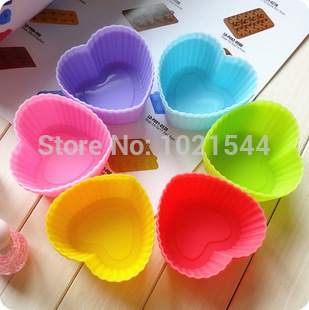 Hot sale 60PCS/LOT 6 Colors 7cm Cooking Tools & Baking Heart Shaped Cake Mould Jelly Pudding Muffin Cups Bakeware(China (Mainland))