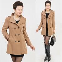 New 2014 jacket women medium-long jaqueta feminina slim outerwear double breasted overcoat mother clothing .