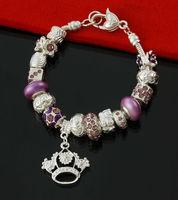 2014 New Fashion Noble Purple Women Jewelry Crown Charm Bracelets Wholesale European Handmade DIY Flower Crystal Glass Bead 2632