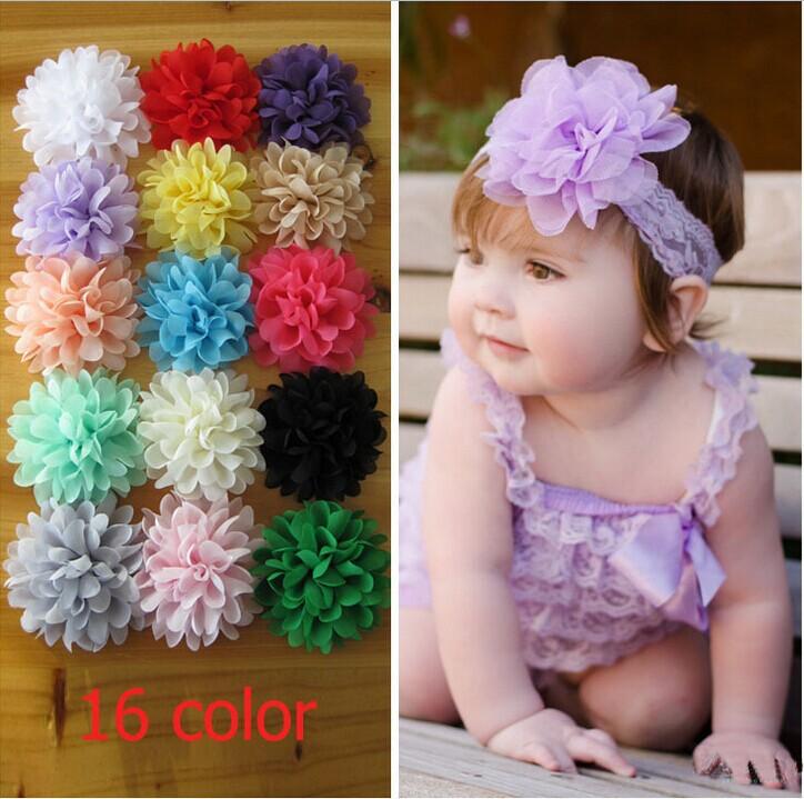 hot!!!new 2014 children hair accessories baby girls Chiffon flower head kids 10CM 16colors hair ribbon hairband 80pc/lot(China (Mainland))