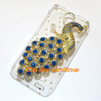 1 pcs Handmade Bling Pretty Peacock Clear Transparent Hard Back Case For HTC Desire 310 D310W