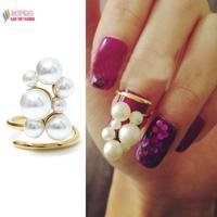 2014 popular hot fashionable elegant gold faux Pearls Designer finger nail ring art jewelry for women bagues ensemble bijoux