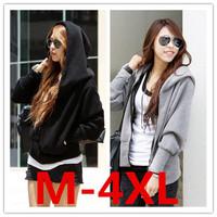 M-4XL size free shipping 2014 Autumn new plus size long sleeve loose sportswear women hoodies sweatshirts