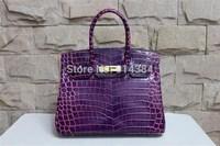 High-quality (1:1) 35CM alligator Shiny bag (H-handbags) French Women's handbags purse 100% Genuine leather Tote Gold hardware