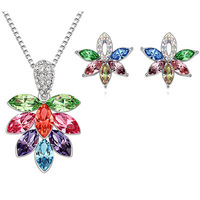 Fashion 18K white gold plated austria crystal women S126 cherry blossom pendant necklace/earrings Jewelry Sets