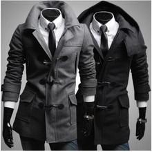 2015 Men Winter Long Coat Military StyleTrench Coat Mens Sobretudo Masculino Preto Longo Hot Selling Men's Fashion Casual Trench(China (Mainland))