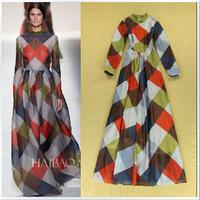 Free Shipping! 2014 Early Autumn Fashion British Style Runway High Quality Plaid Print & Full Sleeves Elegant Floor Long Dress