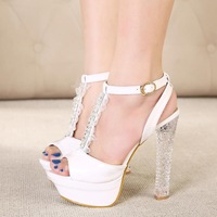 Crystal thick heel sandals sweet women's shoes free shipping