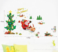 0364 Free Shipping 1Pcs Father Christmas Snowman Santa Claus Elk Pine Gift Christmas Decoration Removable PVC Wall Sticker