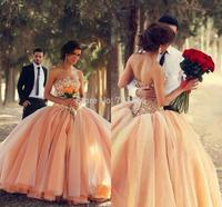 qn-68 new elegant beads crystal sweetheart off shoulder backless ball gown long zuhair murad wedding dress china 2014