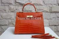 High-quality (1:1) 28CM alligator Shiny bag (H-handbags) French Women's handbags purse 100% Genuine leather Tote Gold hardware