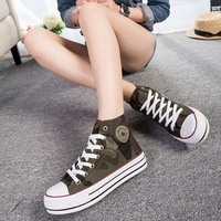 good       Platform shoes female shoes the trend of fashion Camouflage Women high casual canvas shoes