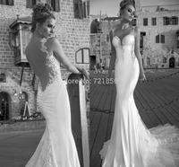 qn-69 new elegant beads appliques sweetheart spaghetti strap backless mermaid long zuhair murad chiffon wedding dress china 2014